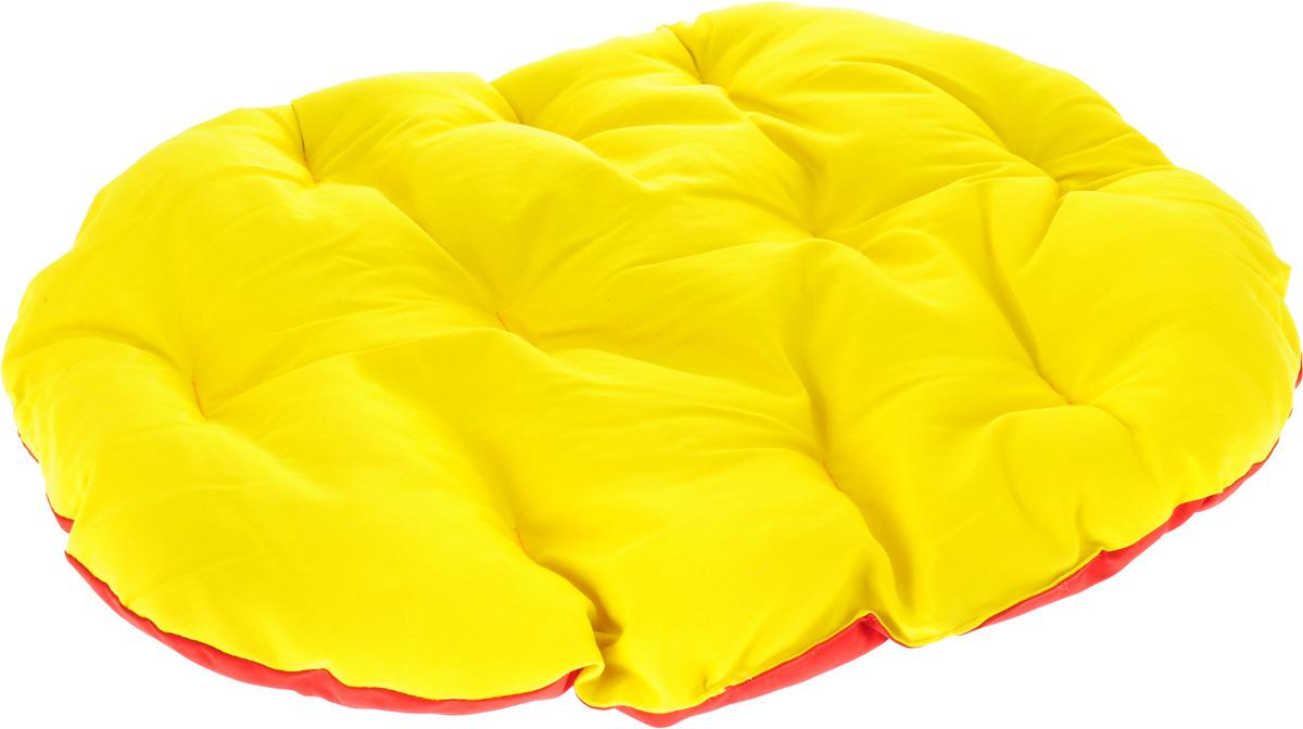 Лежак для животных ЗооМарк Перина Грета №3, ЛГ-3ЖС, желтый, красный, 70 х 52 х 9 см лежак для животных зоомарк перина грета 4 лг 4кж синий желтый 80 х 58 х 9 см