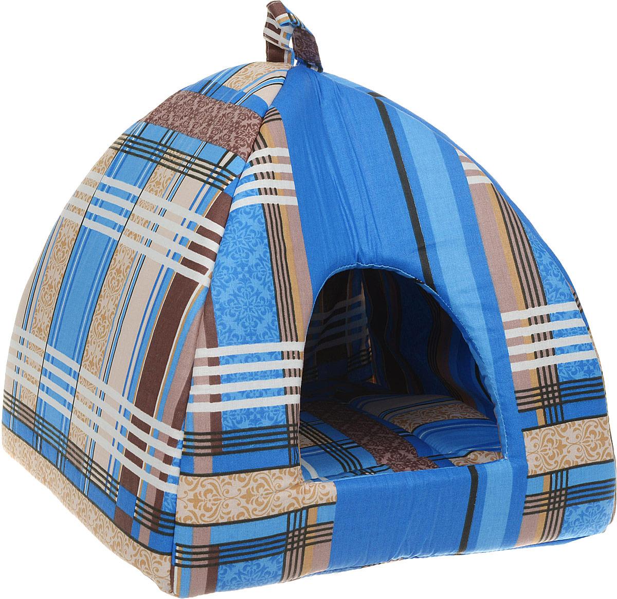 Лежак для животных ЗооМарк Домик-купол Клетка, малый, к-01КС, синий, 40 х 40 х 45 см домик для животных pride ватсон цвет салатовый 40 х 40 х 40 см 10031151