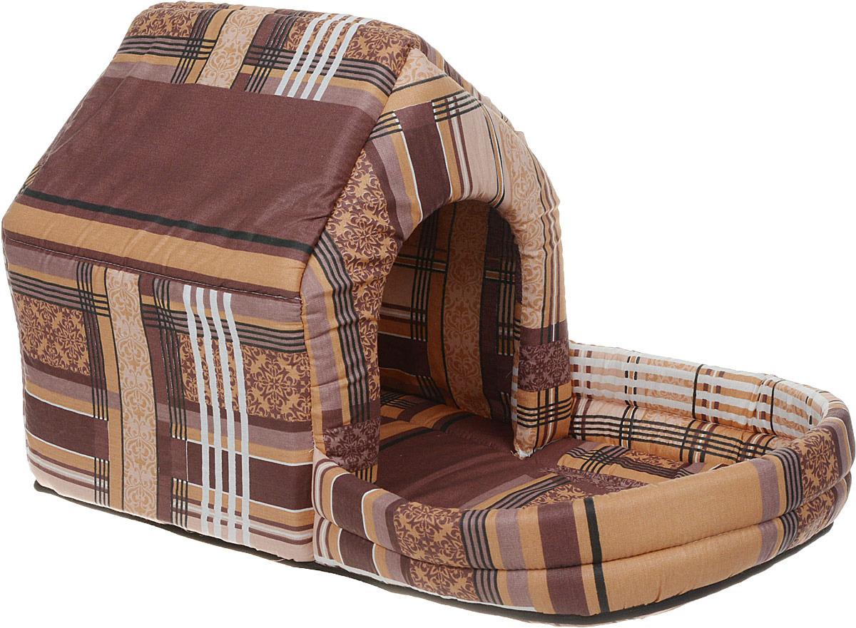 Лежак для животных ЗооМарк Домик Клетка, с площадкой, ДП-1КС, синий, 65 х 33 х 38 см цена