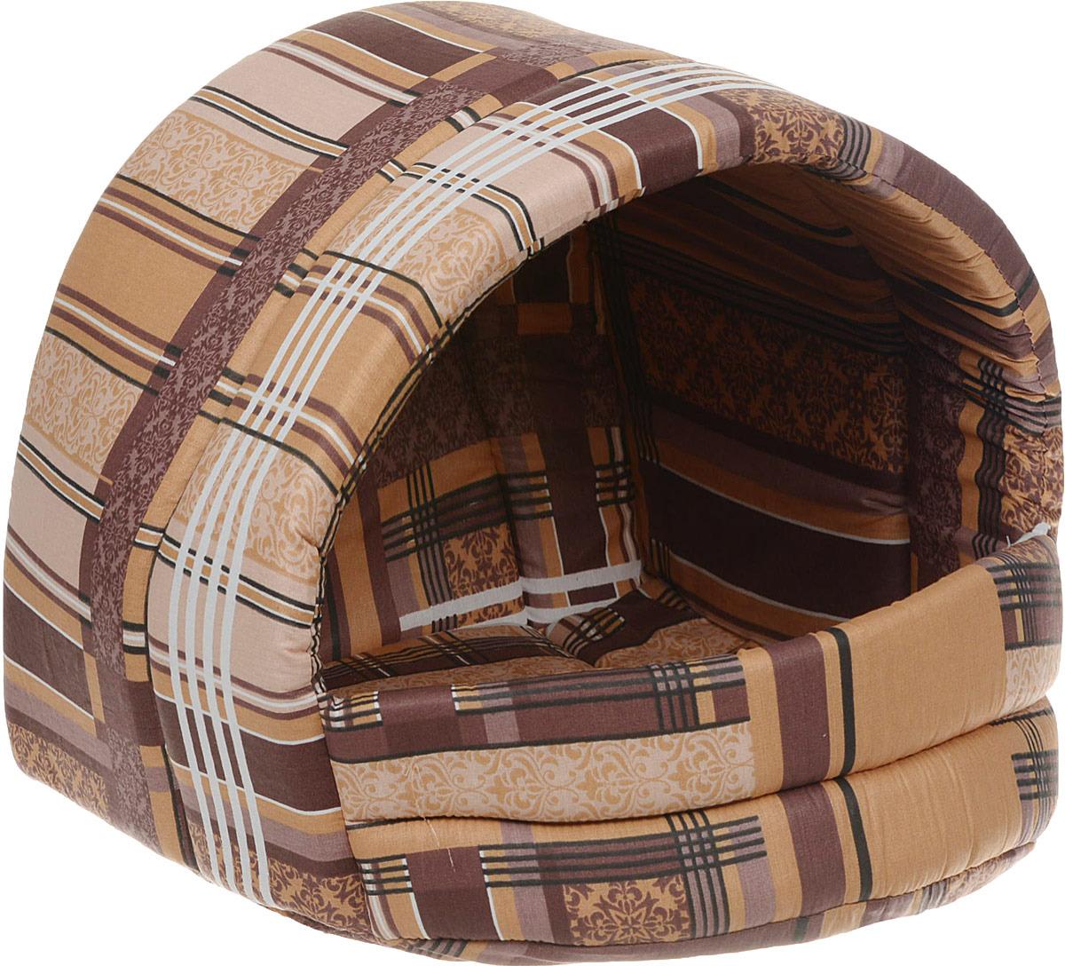 Лежак для животных ЗооМарк Домик-эстрада № 3 Клетка, Д-03КБ, бежевый, 50 х 45 х 35 см цена