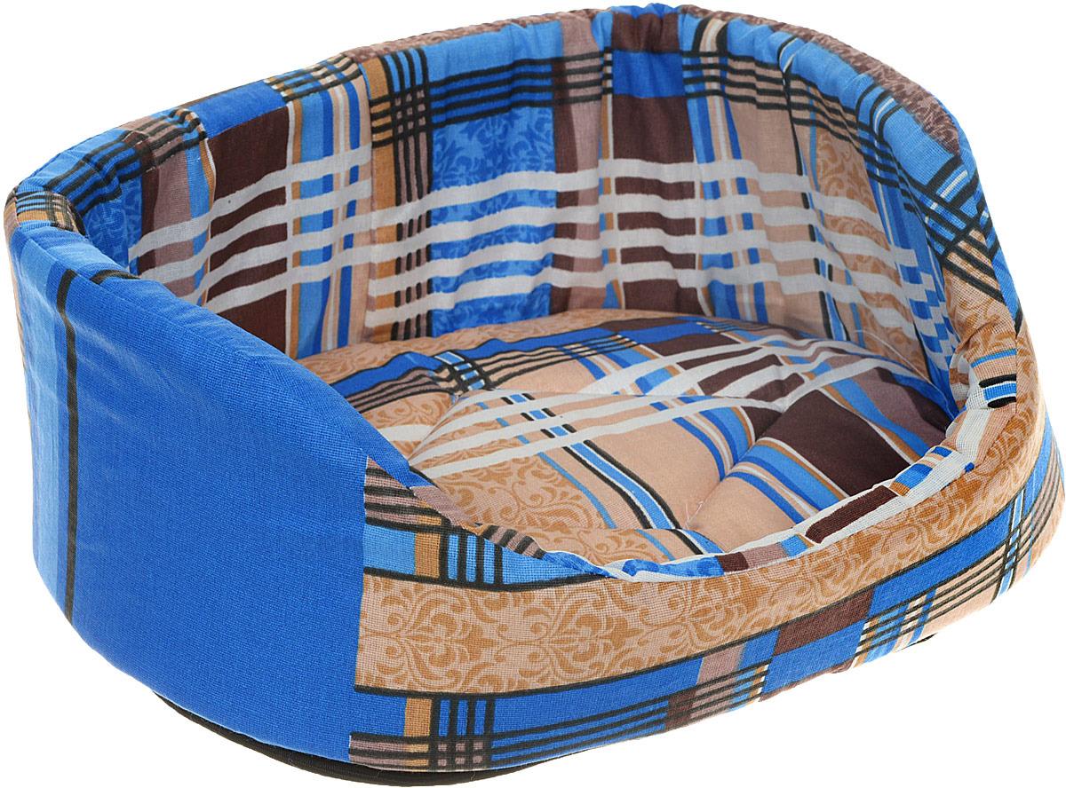Лежак для животных ЗооМарк №1 Стамбул, Л-01СС, синий, 30 х 30 х 15 см