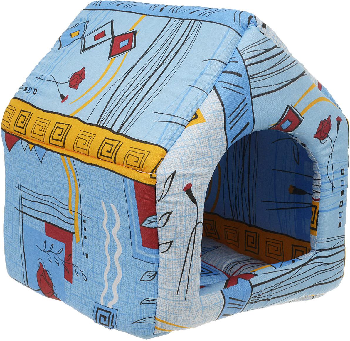 Лежак для животных ЗооМарк Домик-будка №1 Клетка, ЛД-1КС, синий, 35 х 35 х 41 см лежак для животных зоомарк самобранка цвет синий 74 х 55 х 10 см