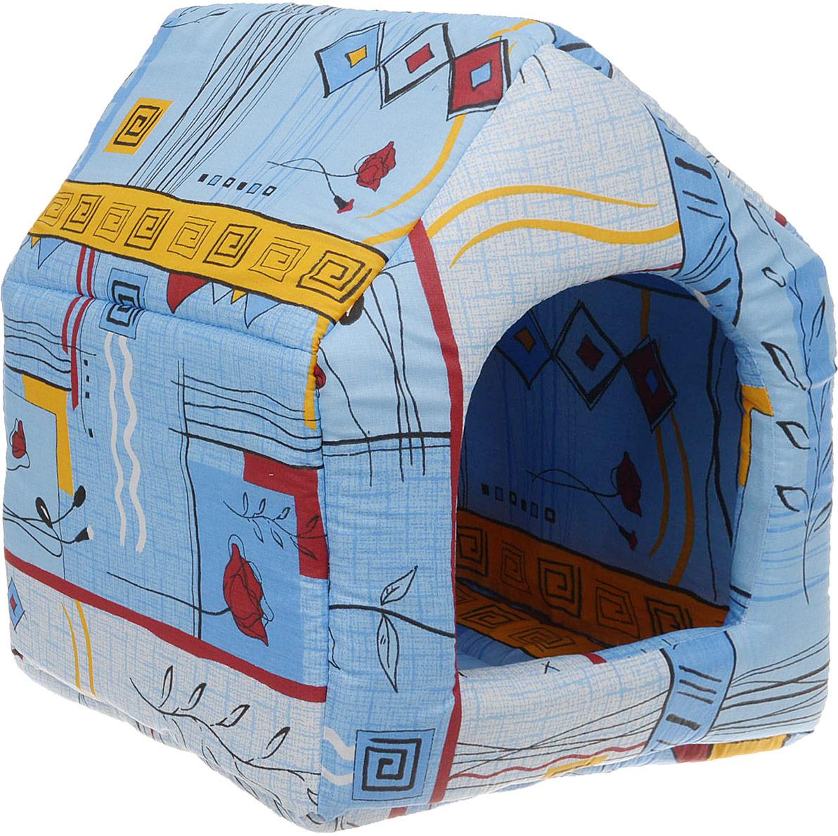 Лежак для животных ЗооМарк Домик-будка №2 Стамбул, ЛД-2СС, синий, 43 х 43 х 49 см домик для кошек и собак titbit с игрушкой цвет рыжий 43 см х 43 см х 40 см