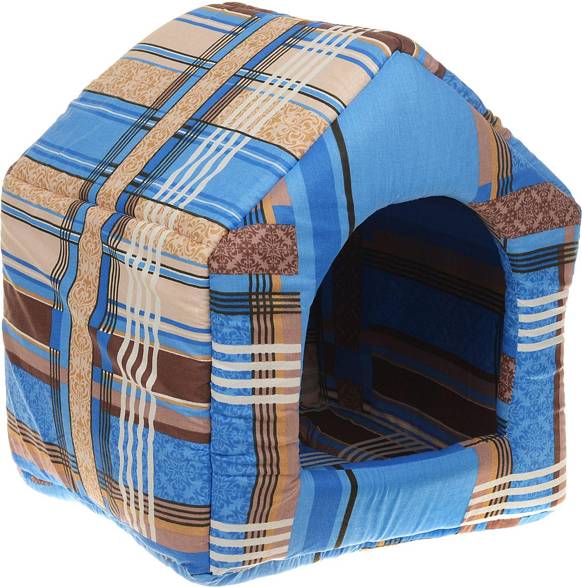Лежак для животных ЗооМарк Домик-будка №2 Клетка, ЛД-2КС, синий, 43 х 43 х 49 см домик для кошек и собак titbit с игрушкой цвет рыжий 43 см х 43 см х 40 см