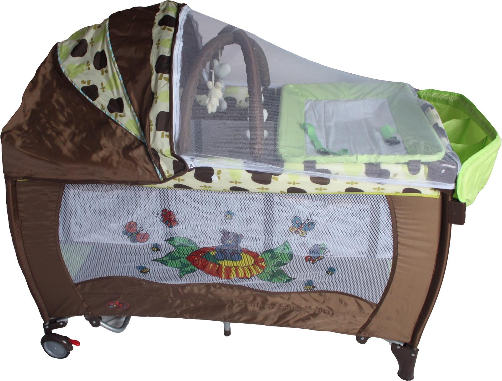 Манеж-кроватка ForKiddy Arena Lux New шоколадный, салатовый, коричневый манеж baby care arena коричневый