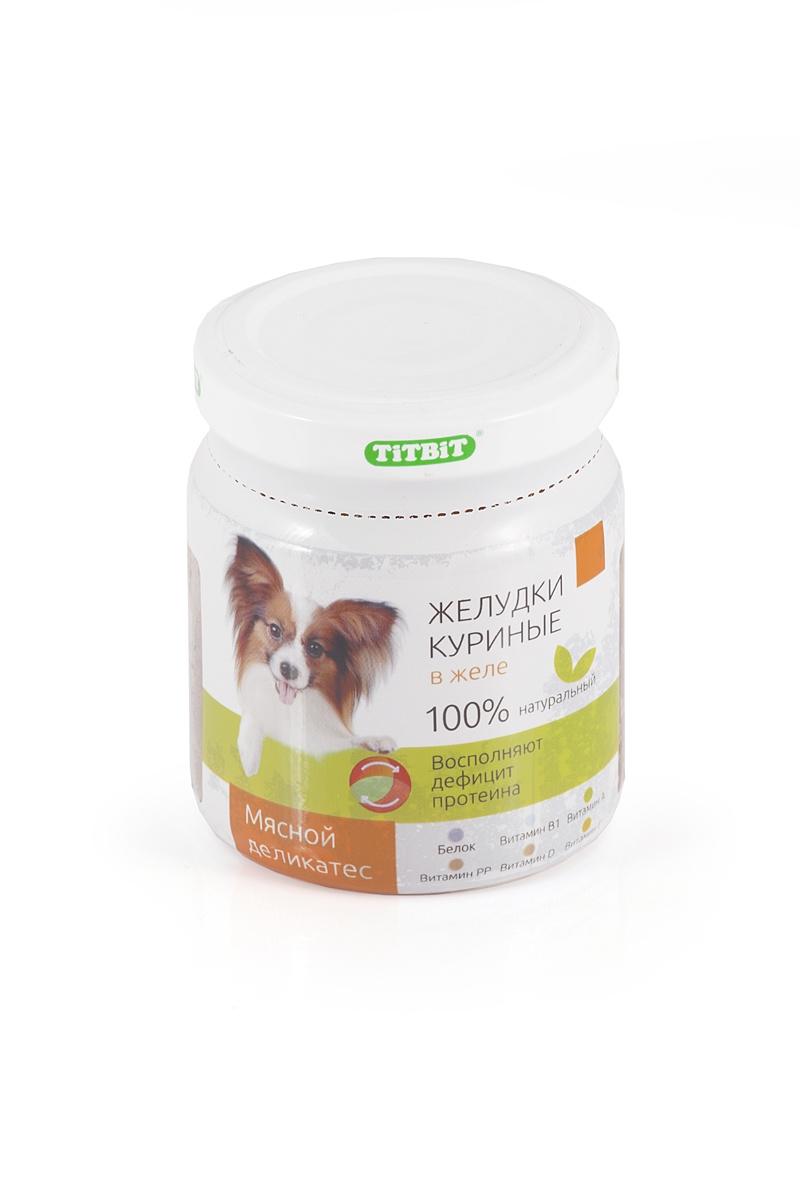цены на TITBIT Консервы для собак желудки куриные в желе 100 г  в интернет-магазинах
