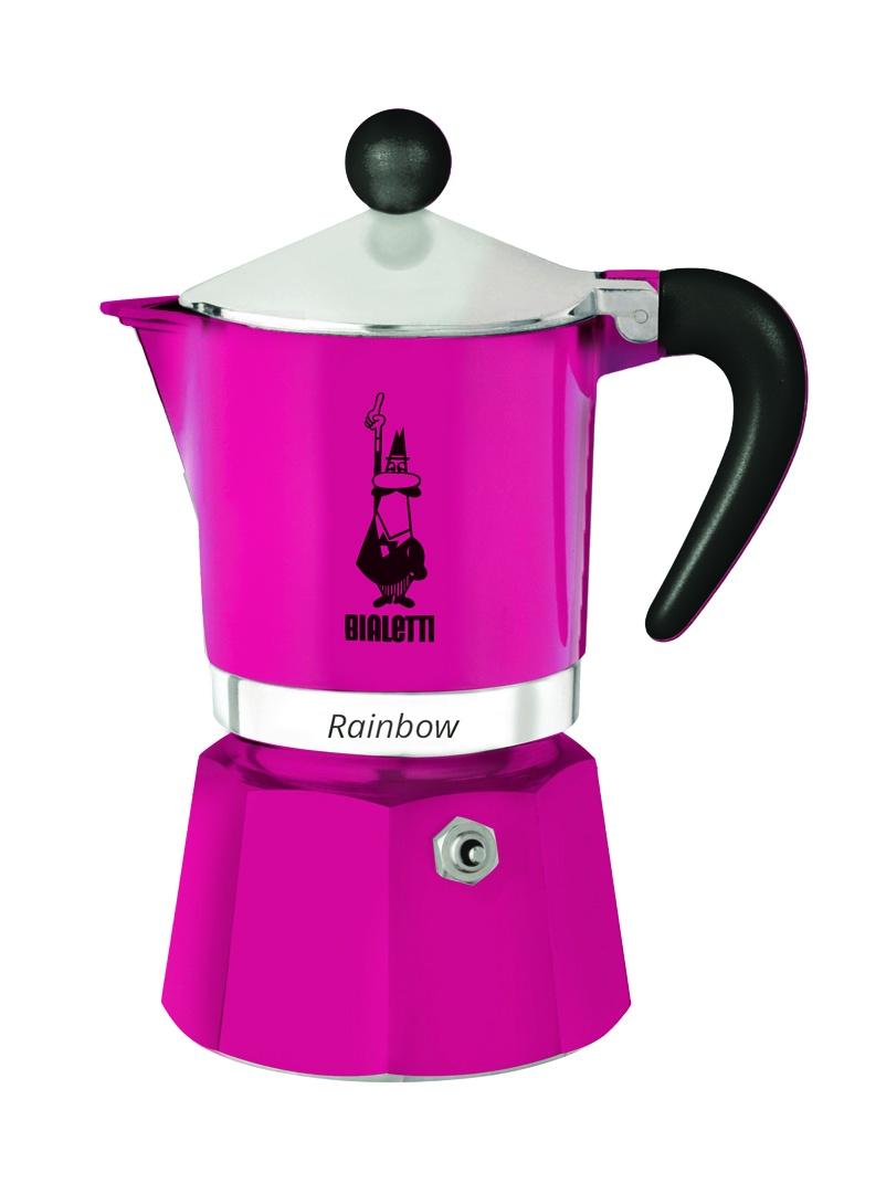 Гейзерная кофеварка Bialetti Rainbow, на 6 чашек, фуксия кофеварка гейзерная bialetti moka induzione 3 порции сталь 4922