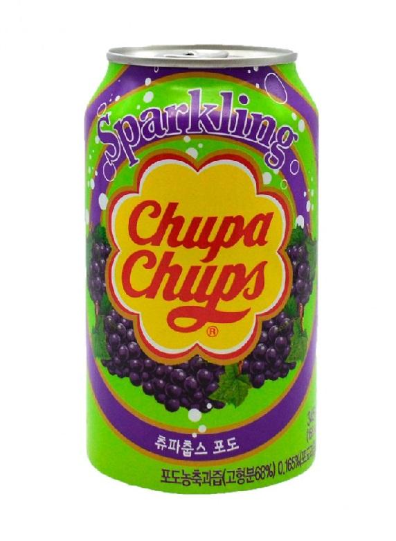 Газированный напиток Chupa Chups со вкусом винограда, 0.33л леденец chupa chups b pop со вкусом тропических фруктов 45 шт по 15 г