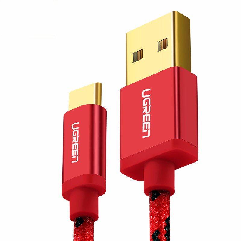 Кабель Ugreen USB 2.0 to USB Type C Data Cable, 0.5M, красный сетевое зарядное устройство bb type c 2а 1 2м черн bb tc 20 14