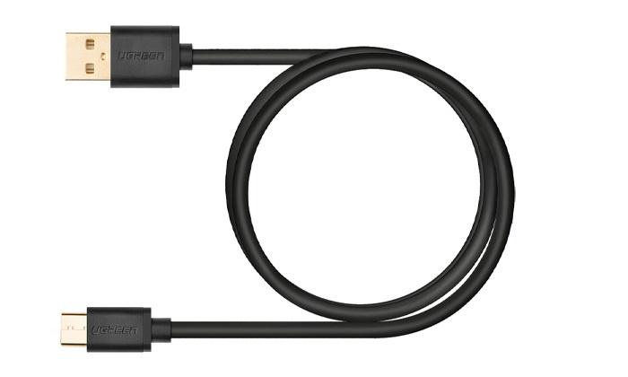 Кабель Ugreen Type C USB 2.0 Data Charging Cable, 2.0M, черный ac power charger adapter micro usb male flexible spring data charging cable black eu plug