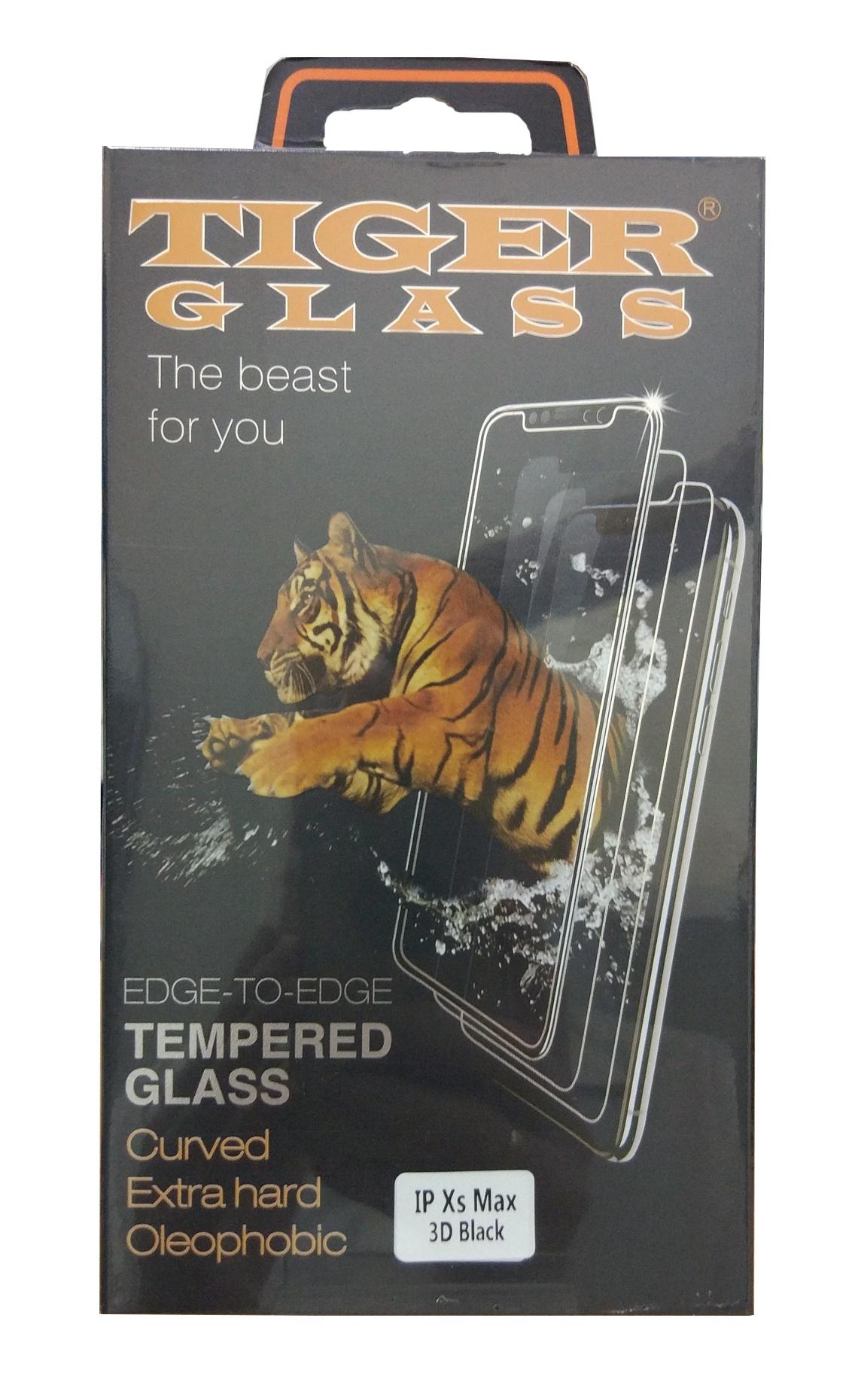 Защитное стекло 3D iPhone Xs Max 6.5 (Tiger Glass), черный защитное стекло 3d borasco 19775 для iphone 6 iphone 6s черная рамка
