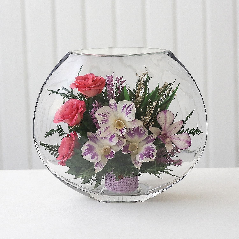 Интерьерная ваза с натуральными цветами на долгие годы Fiora, Serene 43758