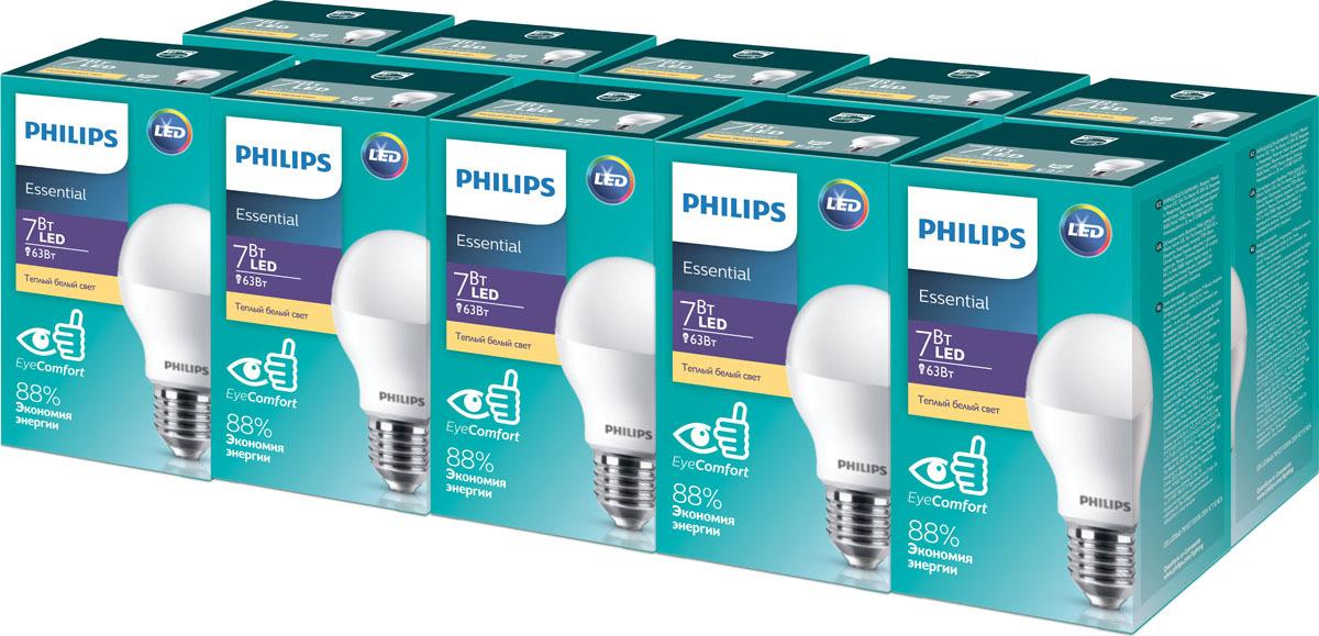Лампочка Philips EyeComfort Essential, Теплый свет 7 Вт, Светодиодная лампочка philips теплый свет 14 5 вт светодиодная
