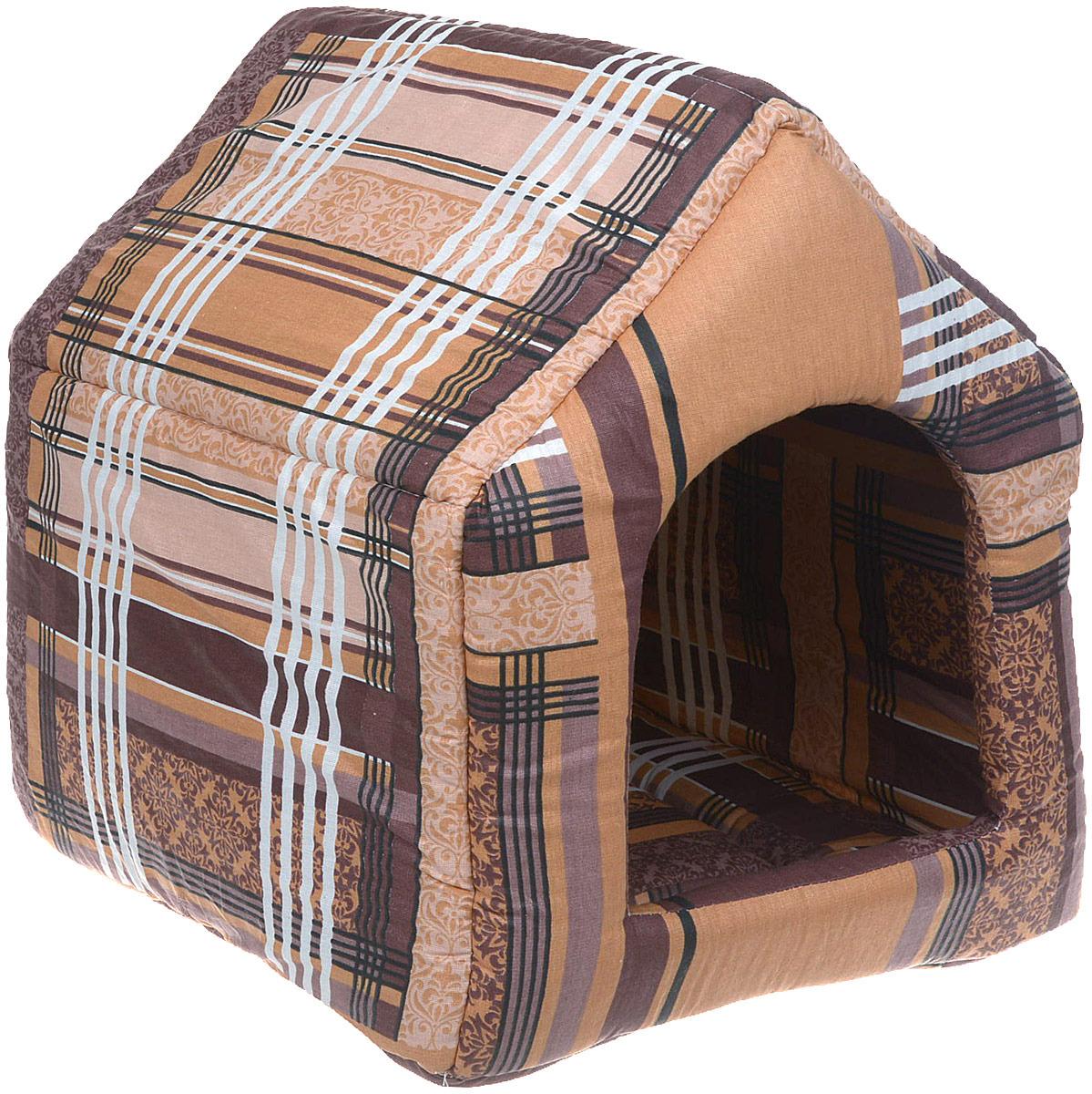Лежак для животных ЗооМарк Домик-будка №2 Клетка, ЛД-2КБ, бежевый, 43 х 43 х 49 см