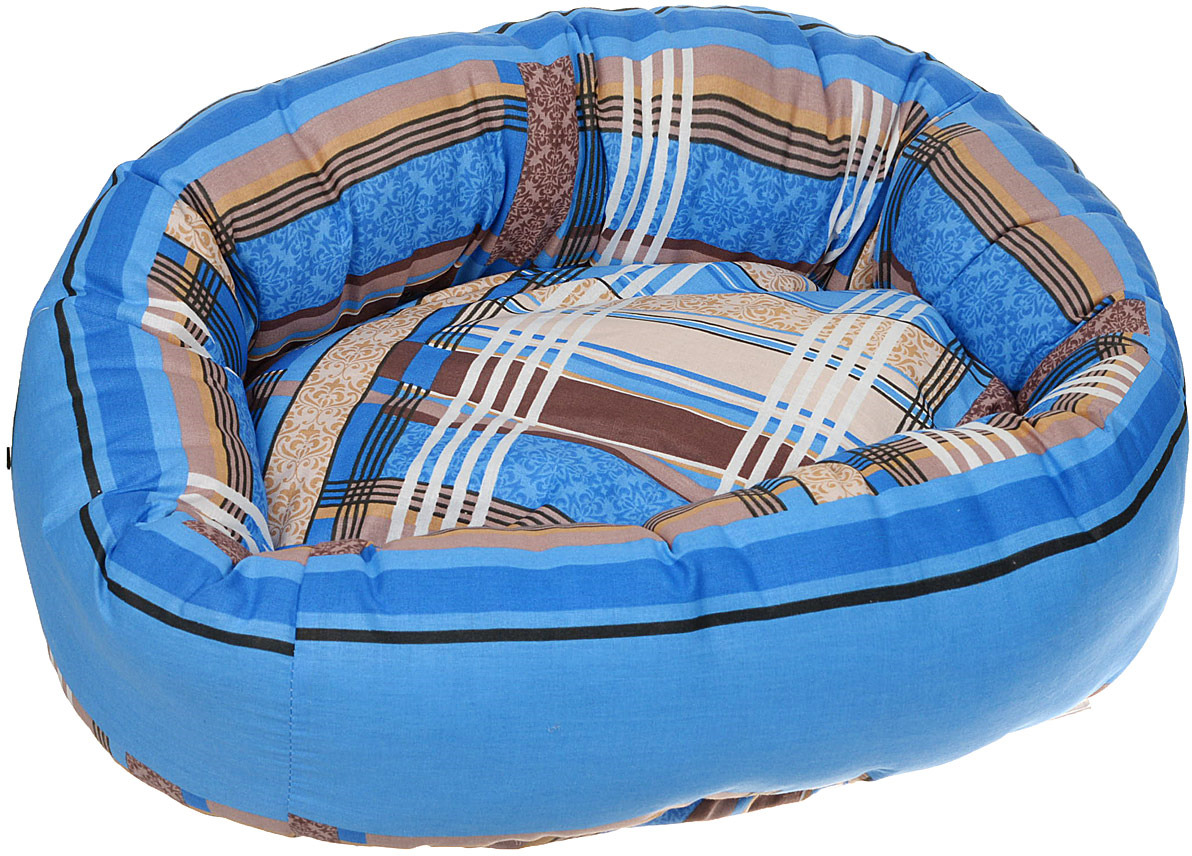 Лежак для животных ЗооМарк Стамбул, круглый, Л-22СС, синий, 46 х 46 х х 21 см лежак для животных зоомарк самобранка цвет синий 74 х 55 х 10 см