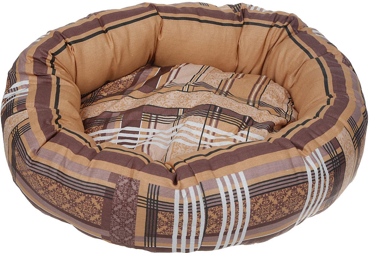 Лежак для животных ЗооМарк Клетка, круглый, Л-22КС, синий, 46 х 46 х х 21 см лежак для животных зоомарк самобранка цвет синий 74 х 55 х 10 см