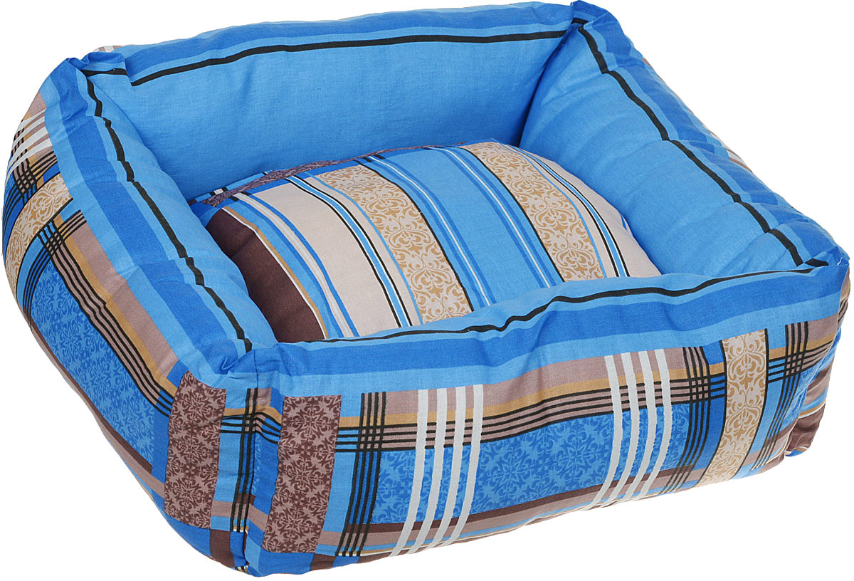 купить Лежак для животных ЗооМарк Клетка, квадратный, Л-42КС, синий, 50 х 50 х 21 см по цене 1297 рублей