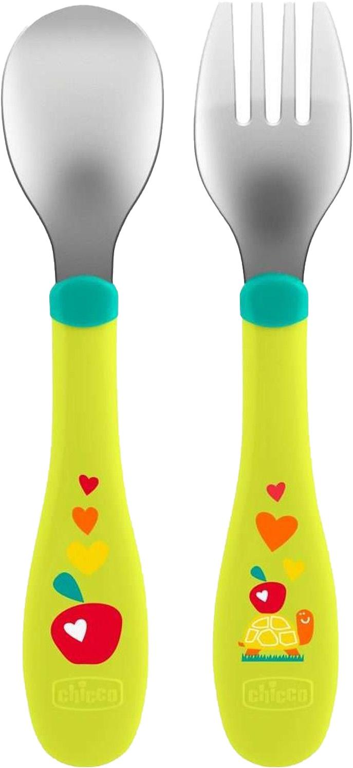 Столовый набор Chicco (ложка и вилка), зеленый набор для кормления chicco ложка и вилка 12 310308027