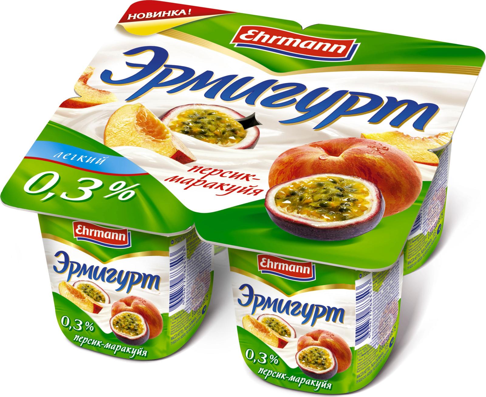 Йогуртный продукт Эрмигурт легкий, персик, маракуйя, 0,3%, 115 г