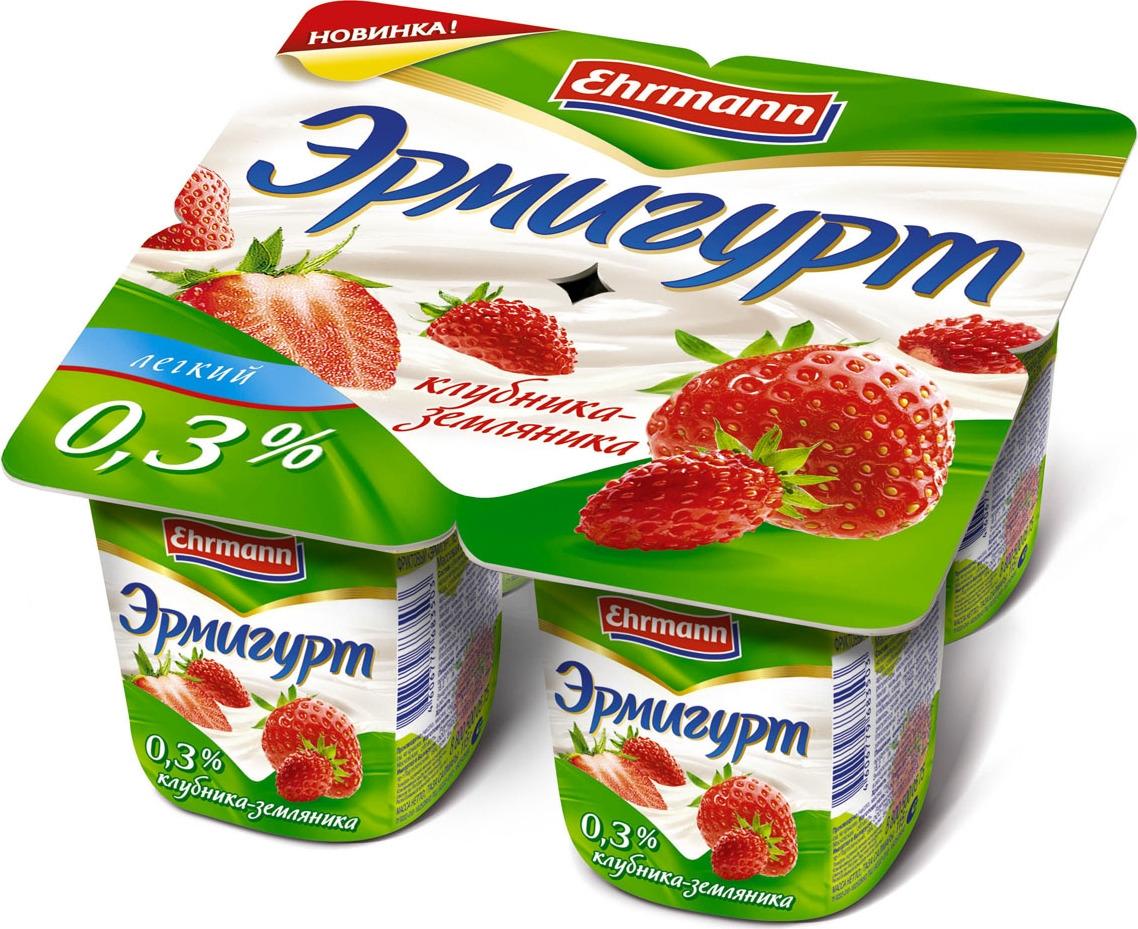 полезное утро продукт овсяный ферментированный клубника 120 г Йогуртный продукт Эрмигурт легкий, клубника, земляника, 0,3%, 115 г