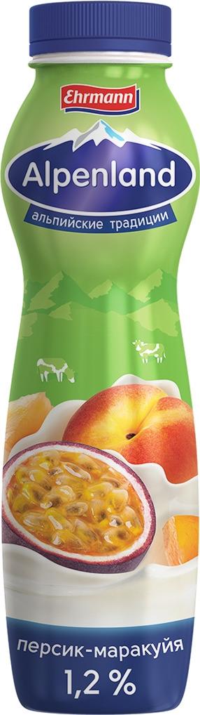 Йогуртный продукт Alpenland, персик и маракуйя, 1,2%, 290 г творожок чудо воздушный персик маракуйя 4 2