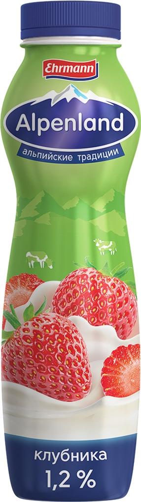 полезное утро продукт овсяный ферментированный клубника 120 г Йогуртный продукт Alpenland, клубника, 1,2%, 290 г
