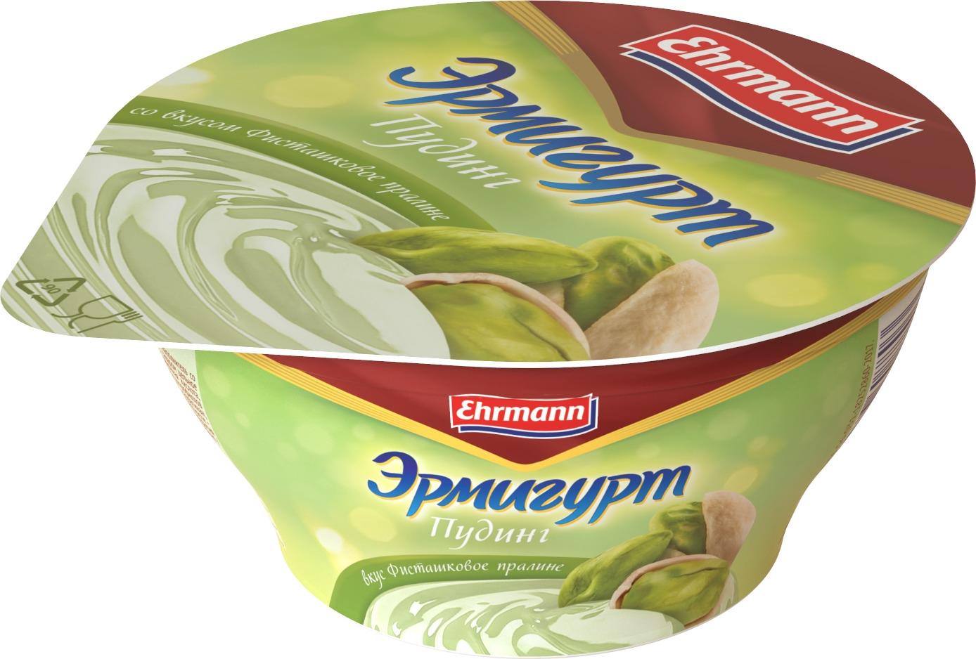 Пудинг Эрмигурт, со вкусом Фисташковое пралине, 3,4%, 140 г