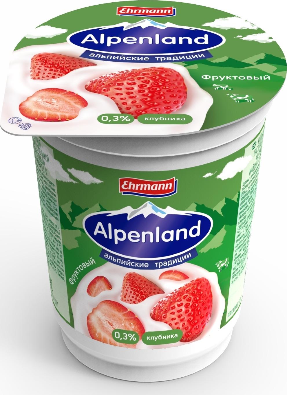 полезное утро продукт овсяный ферментированный клубника 120 г Йогуртный продукт Alpenland, клубника, 0,3%, 320 г