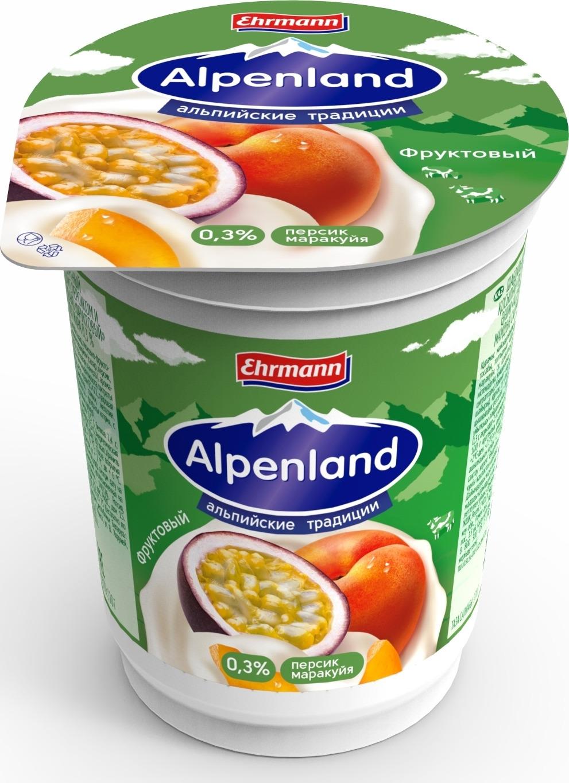 Йогуртный продукт Alpenland, персик, маракуйя, 0,3%, 320 г danone продукт творожный персик абрикос 3 6% 170 г