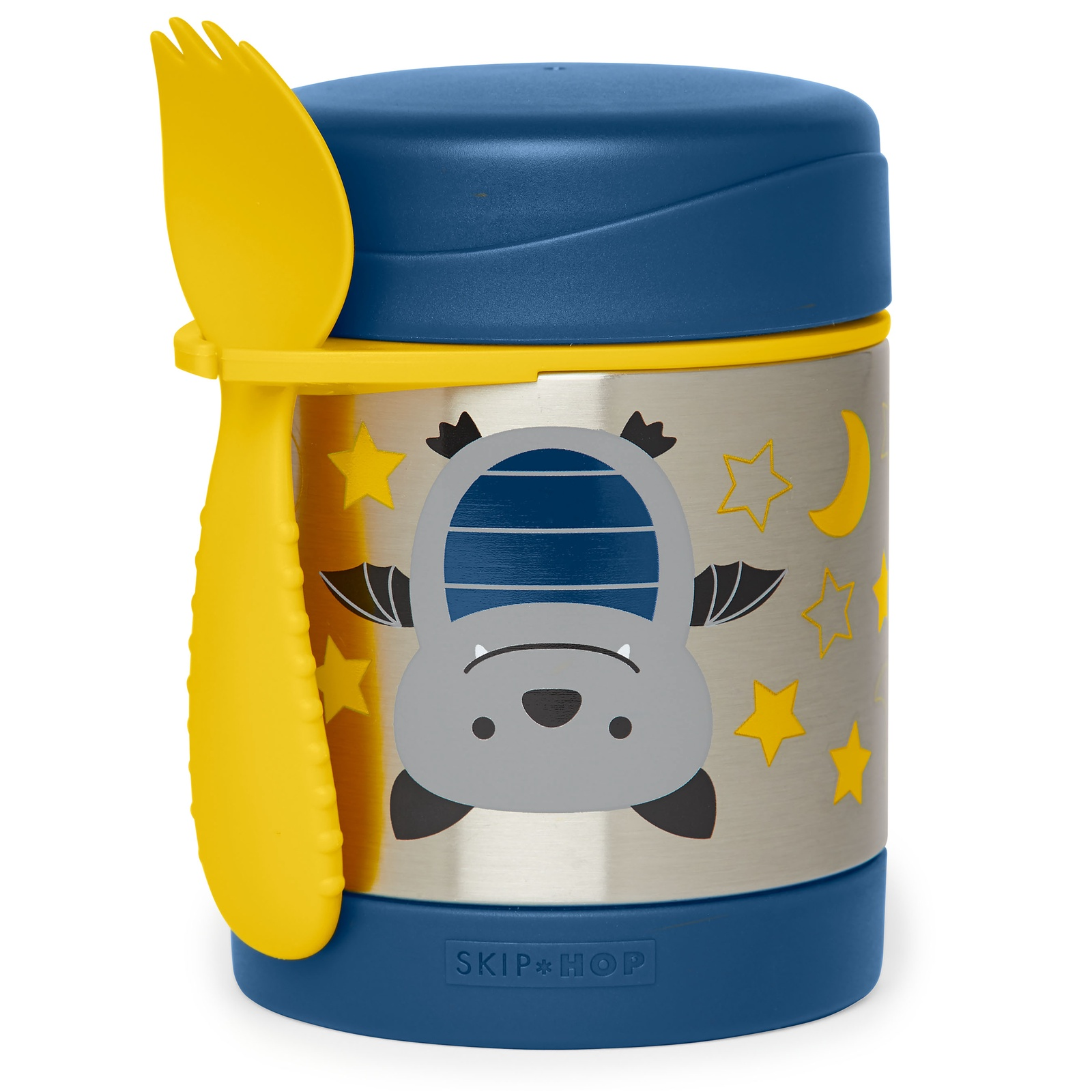Термос SkipHop со столовым прибором Летучая мышь SH 252385, синий, желтый