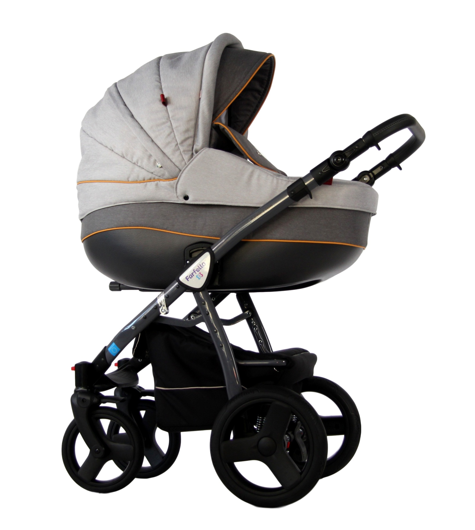 Коляска-люлька Farfello CARE-LINE 2в1 светло-серый коляска люлька farfello fly line 3в1