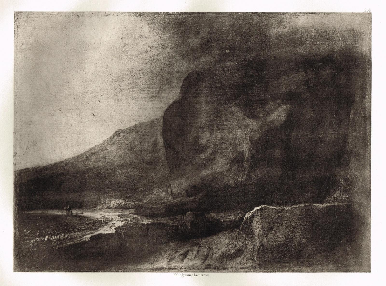 Гравюра Пустынная горная долина. Рембрандт Харменс ван Рейн. Гелиогравюра 1900 год