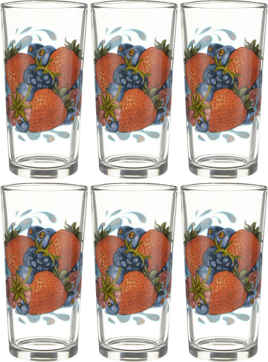 Набор стаканов ОСЗ Ода Ягодный микс К, 230 мл, 6 шт набор питьевой ягодный фреш подсолнух 7пр кувшин 1 5л 6 стаканов 250 мл стекло в ассортименте