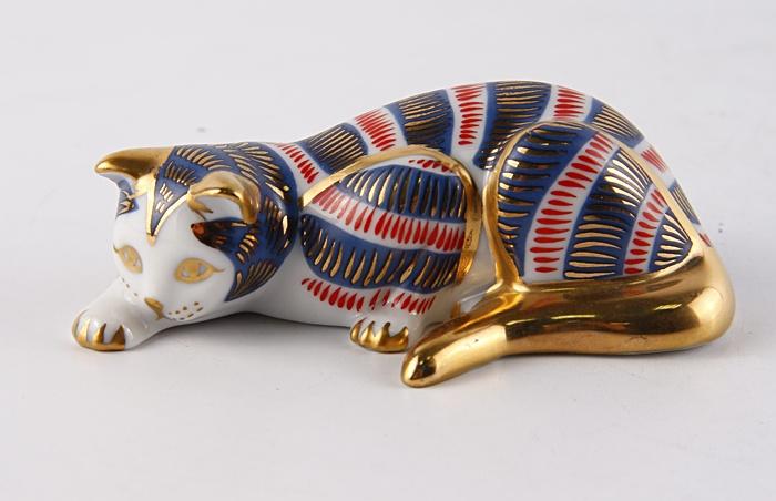 "Статуэтка ""Кошка"" в стиле Имари. Фарфор, роспись. The Franklin Mint, США, конец XX века."