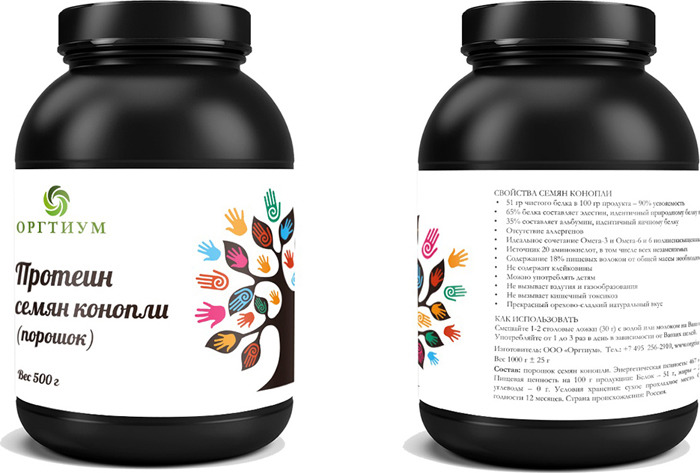 Протеин семян конопли Оргтиум, 500 г