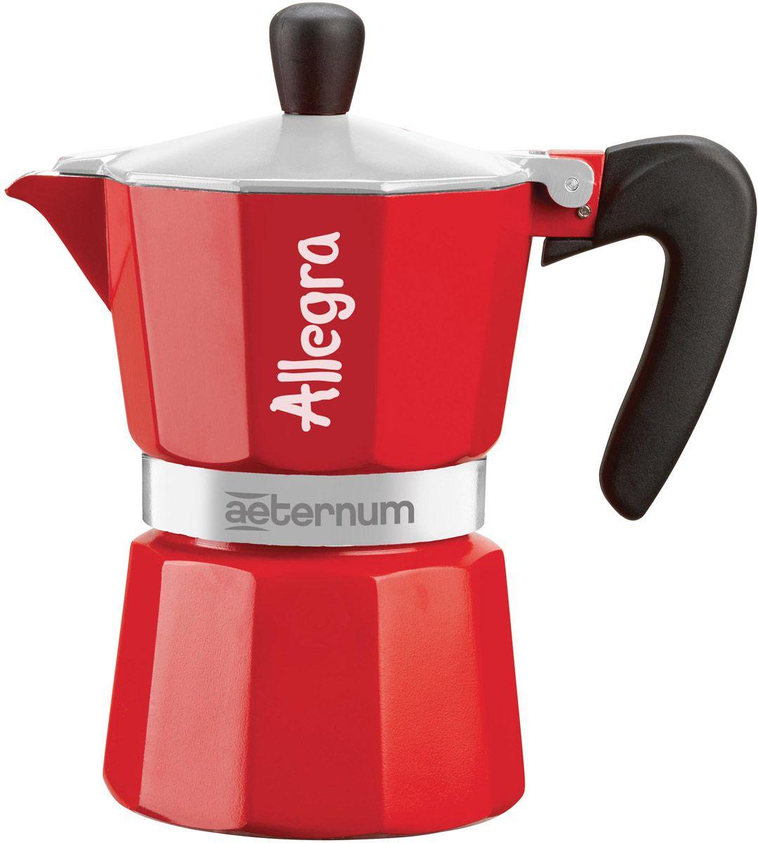 Гейзерная кофеварка Bialetti Aeternum Allegra Rossa, на 6 чашек, красный кофеварка гейзерная bialetti aeternum elegance 6 порций алюминий 6008