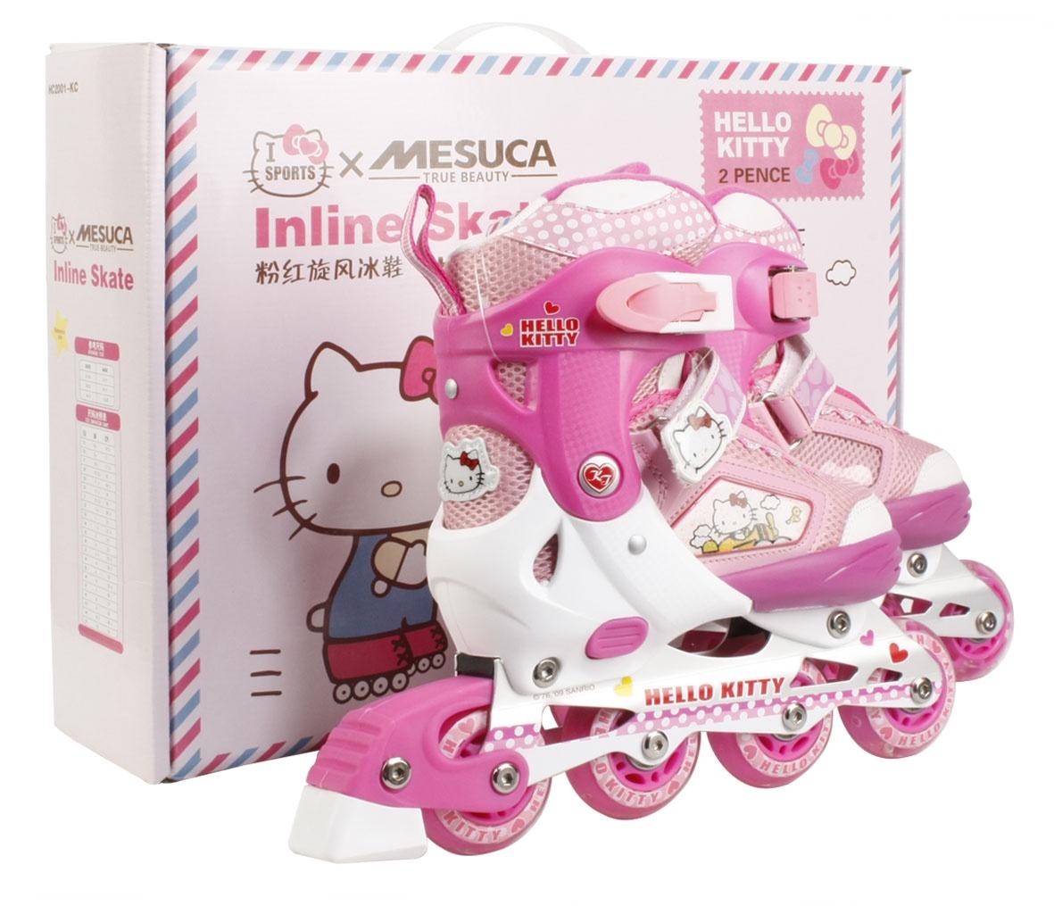 Коньки раздвижные роликовые Hello Kitty