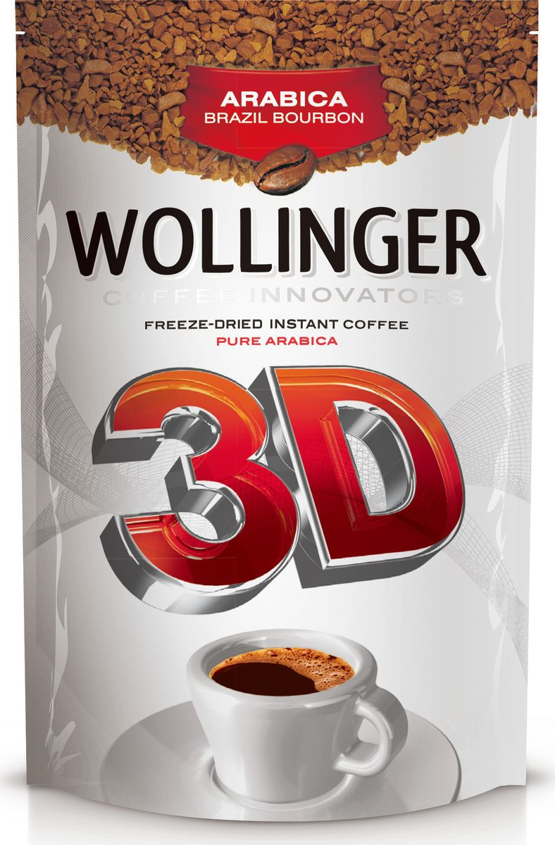 Кофе растворимый Wollinger 3D сублимированный, дой-пак, 95 г wollinger кофе растворимый 75 г