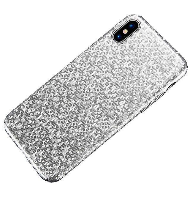 Чехол для сотового телефона Floveme Ультратонкий мозаичный для iPhone X, серебристый цена 2017