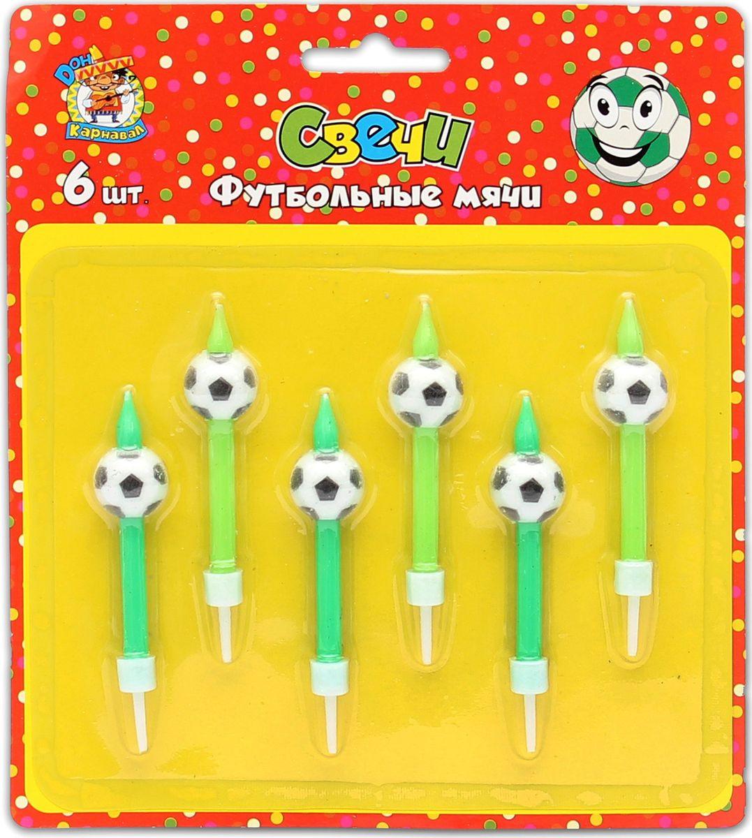 Свечи для торта с подставками Miland Футбольные мячи, С-2626, разноцветный, 6 шт