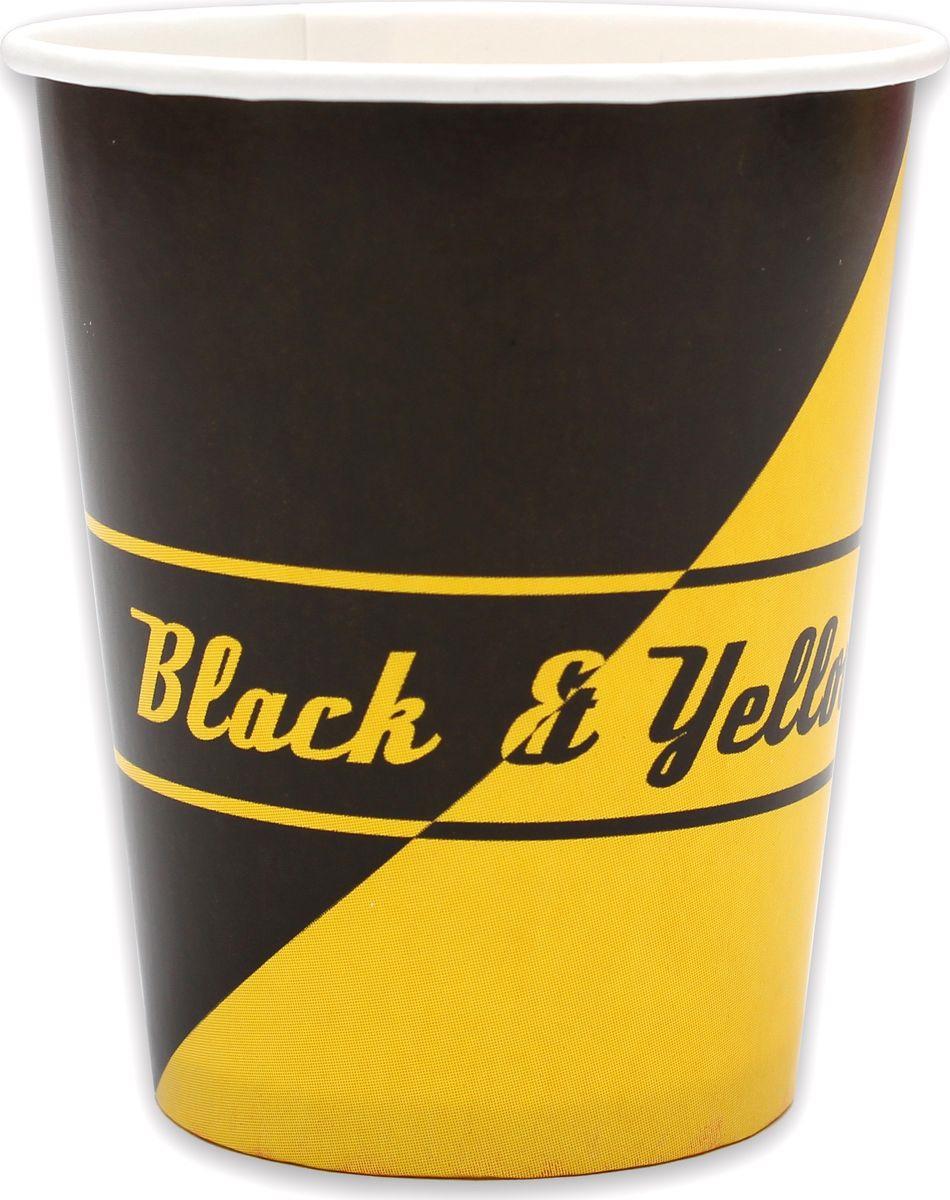 Стаканы бумажные Miland Black & Yellow, 250 мл, 6 шт
