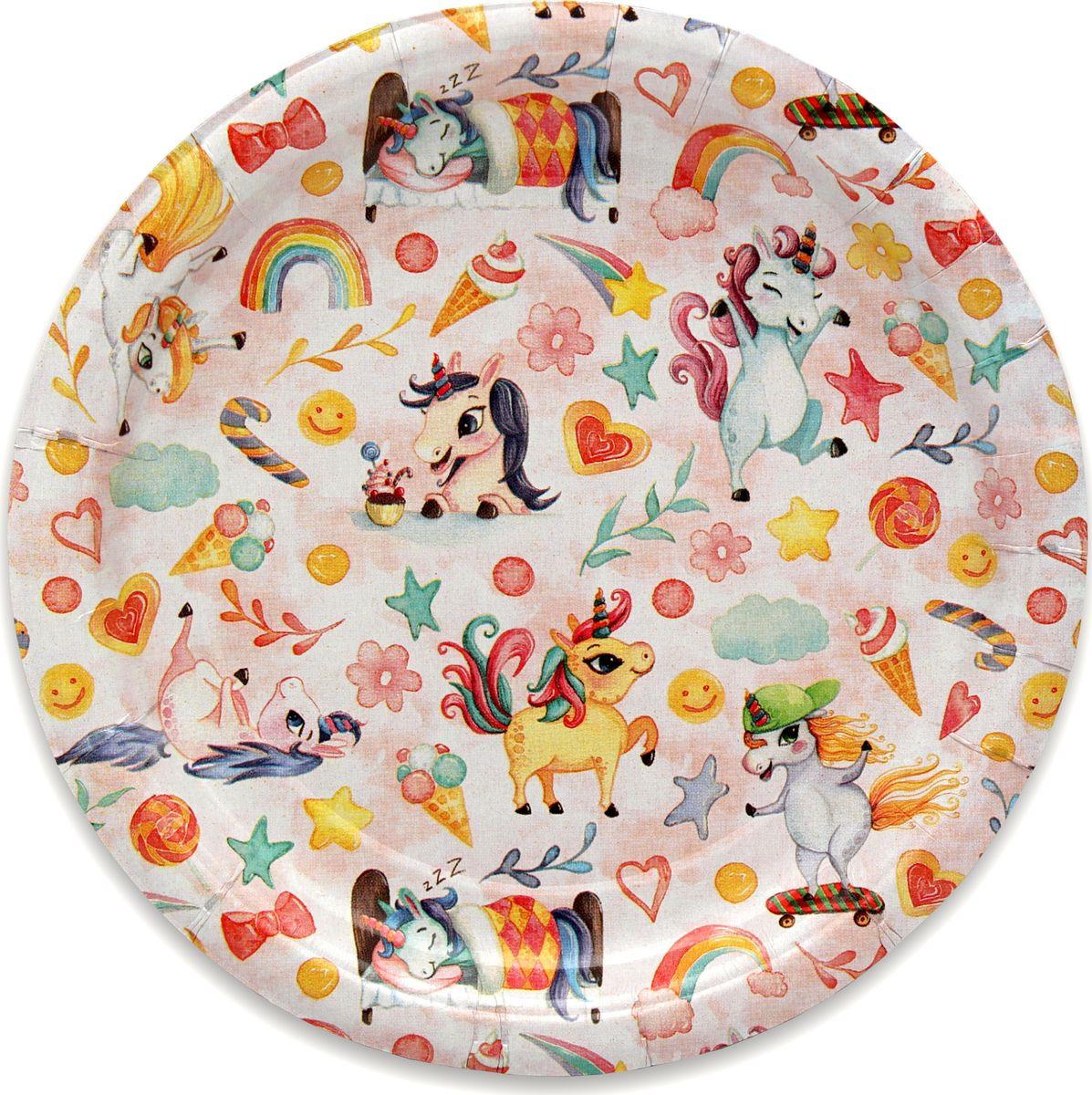 Тарелка бумажная Miland День единорожка, 17 см, 6 шт