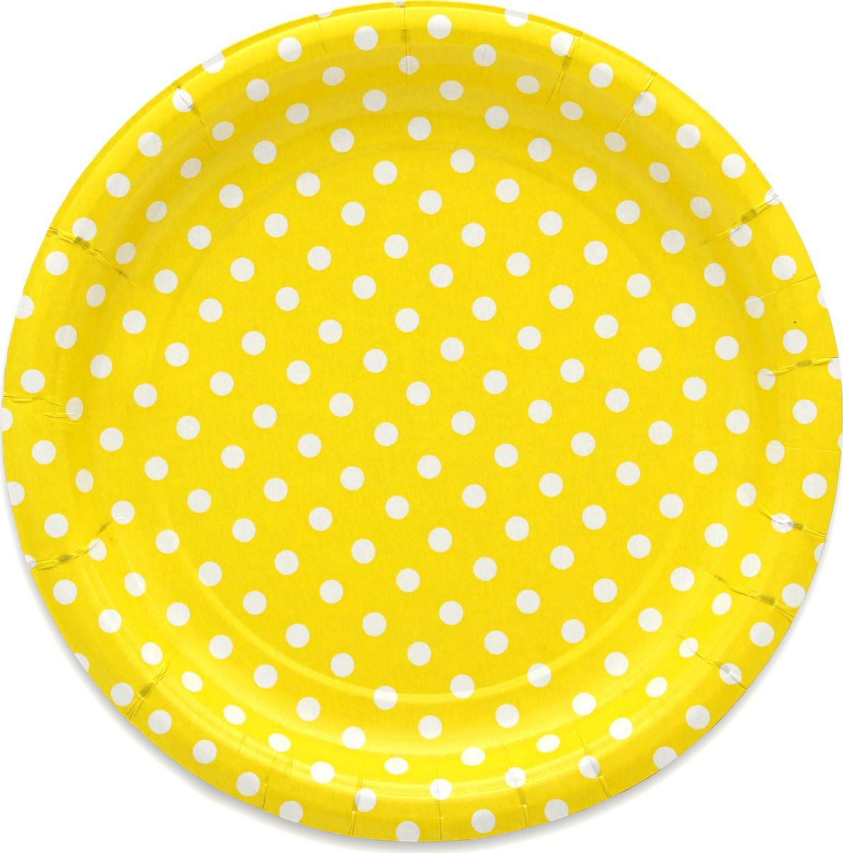 Тарелка бумажная Miland Yellow Pin Up, 17 см, 6 шт