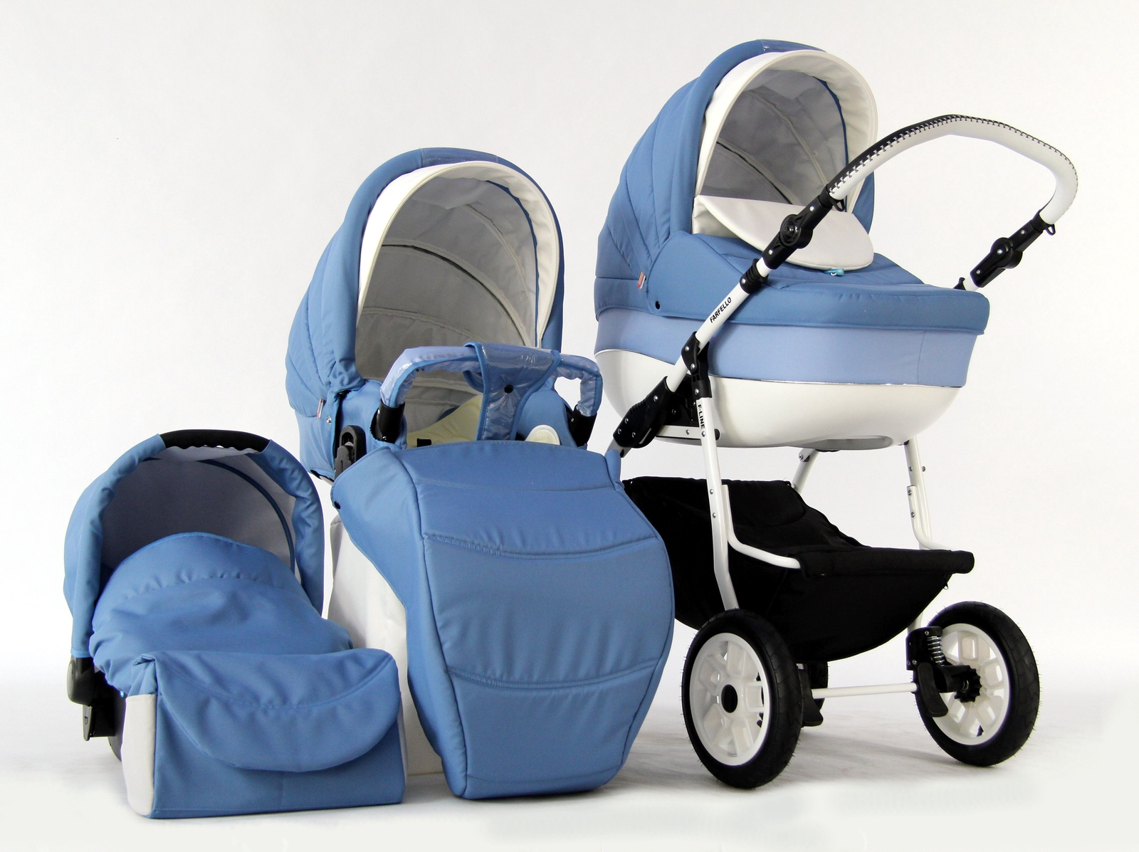 Коляска-люлька Farfello FORTUNA F-line 3в1 голубой коляска люлька farfello fly line 3в1