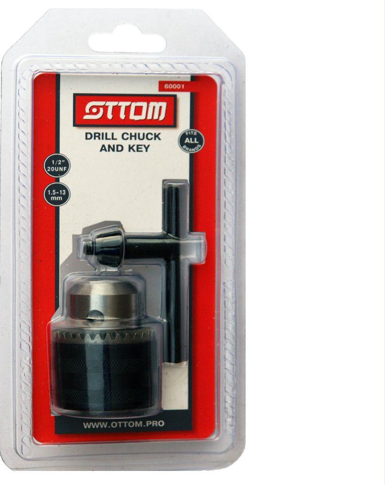 цена на Патрон кулачковый Ottom, с ключом 1,5-13 мм, 1/2-20UNF, 60001