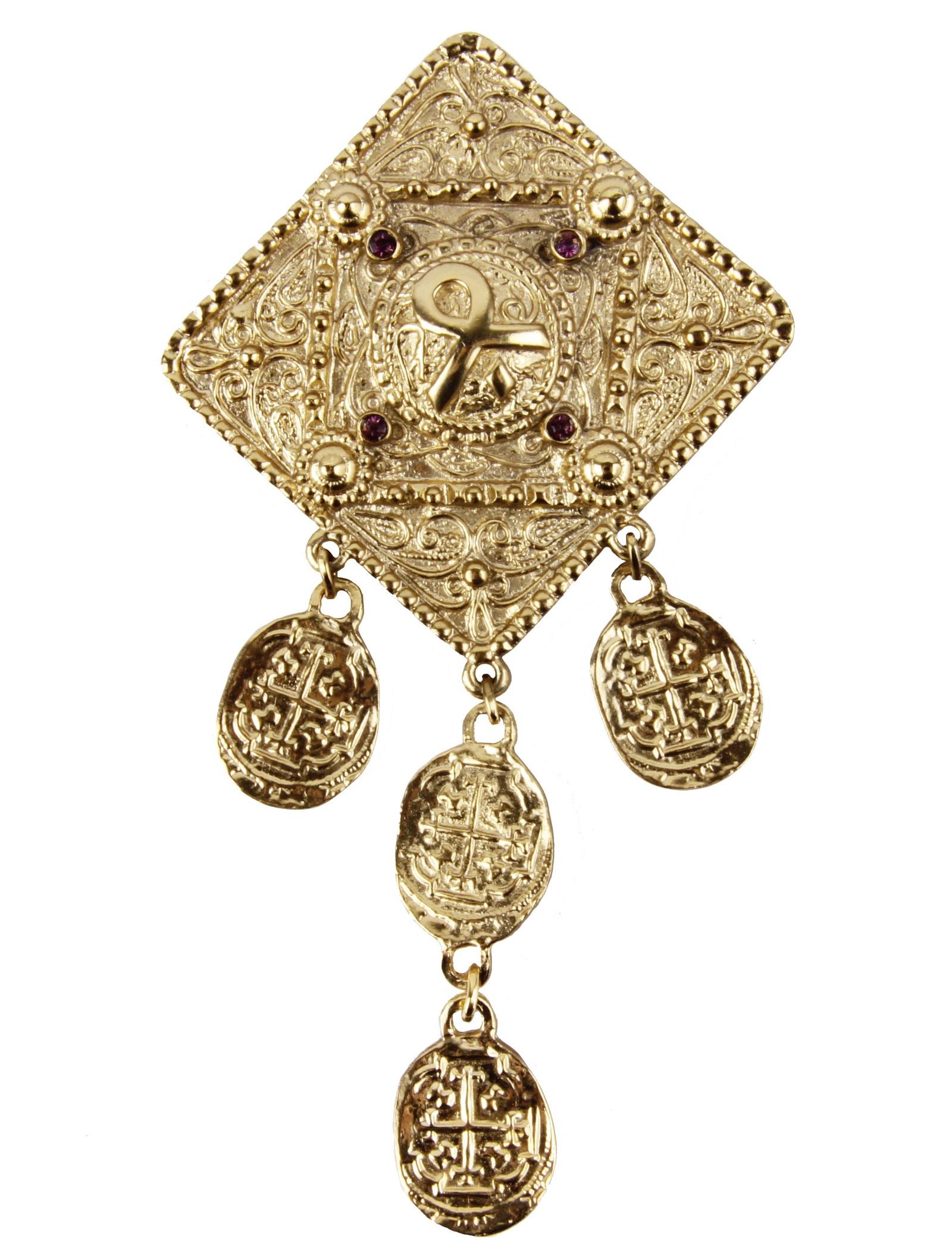 Брошь бижутерная Butler & Wilson Золото инков, Бижутерный сплав, Кристаллы, золотой, сиреневый брошь от butler