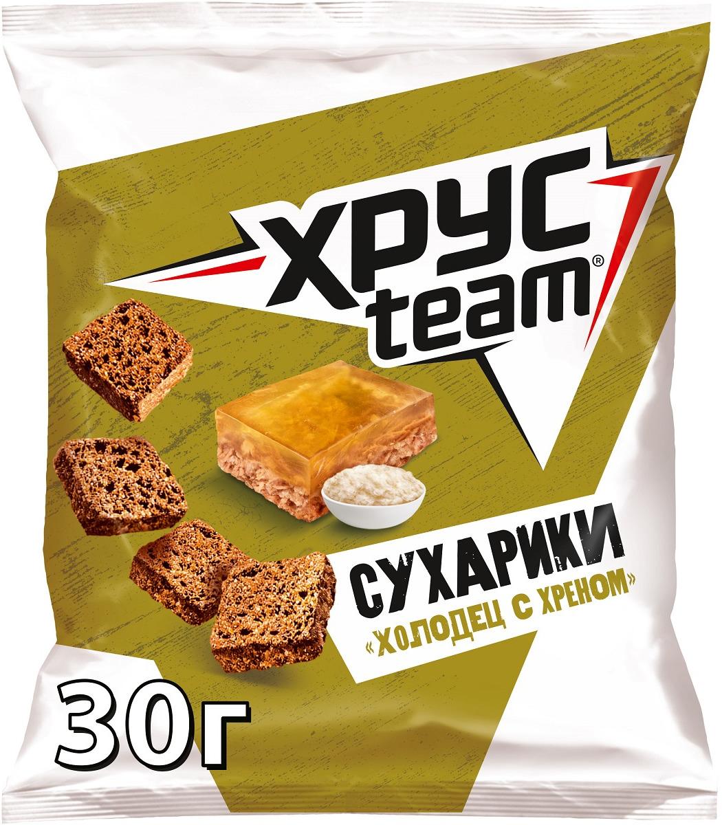 Сухарики Хрусteam Холодец с хреном, 30 г сухарики ржаные русские сухарики фермерская сметана 50 г