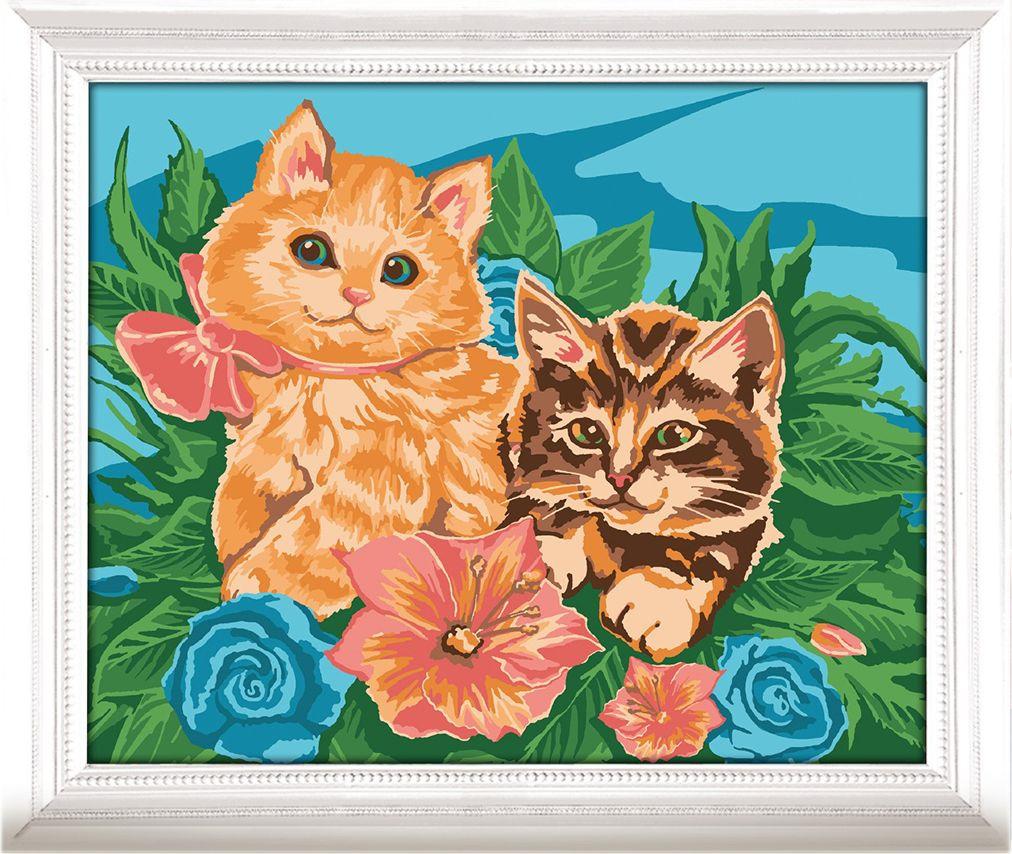 Картина по номерам Арт Узор Котята в цветах, 3716909, 30 х 40 см