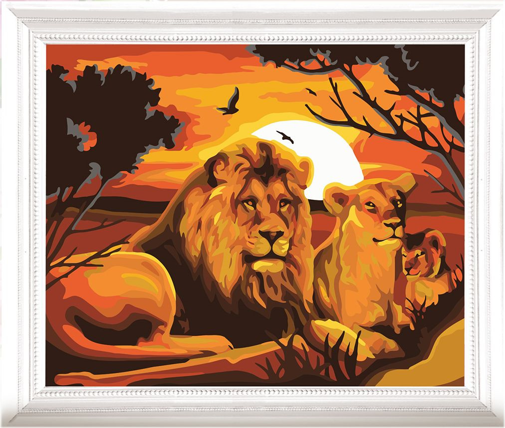 Картина по номерам Арт Узор Львы, 3857454, 40 х 50 см раскраска по номерам африканские львы 28x39см