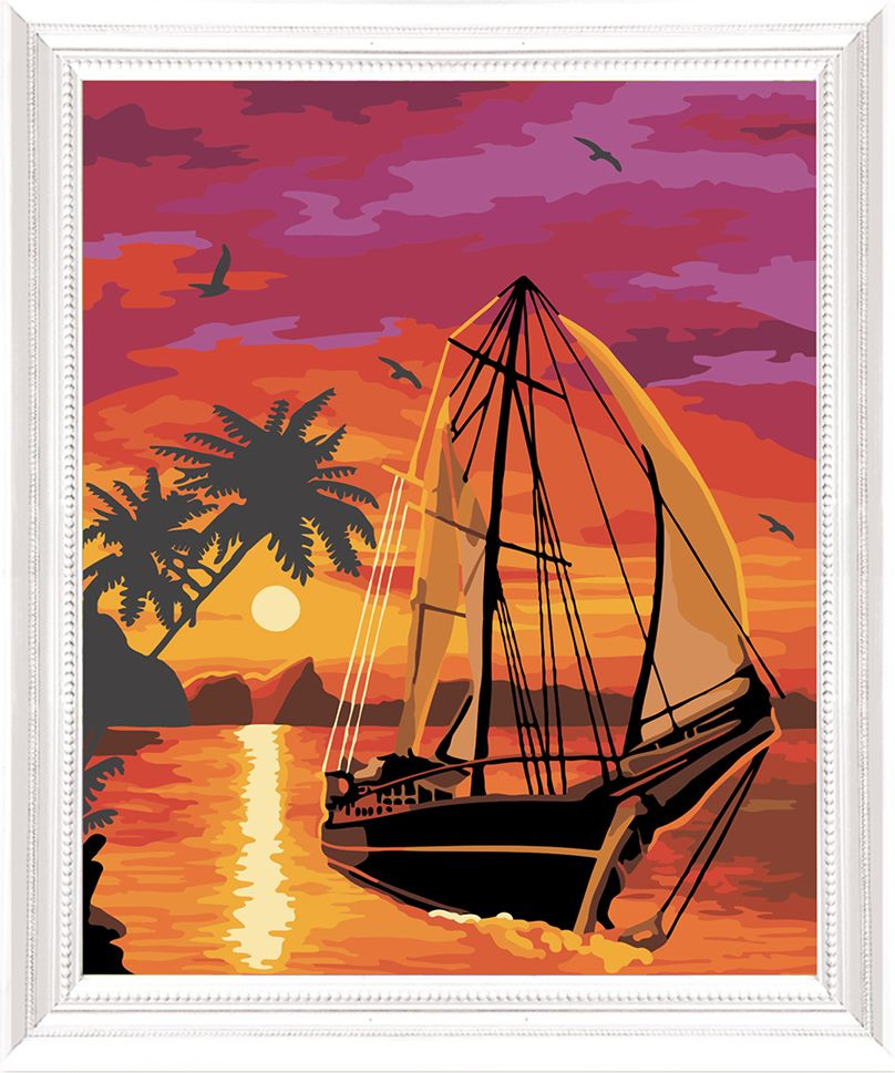 Картина по номерам Арт Узор Парусник в закате, 3857456, 40 х 50 см